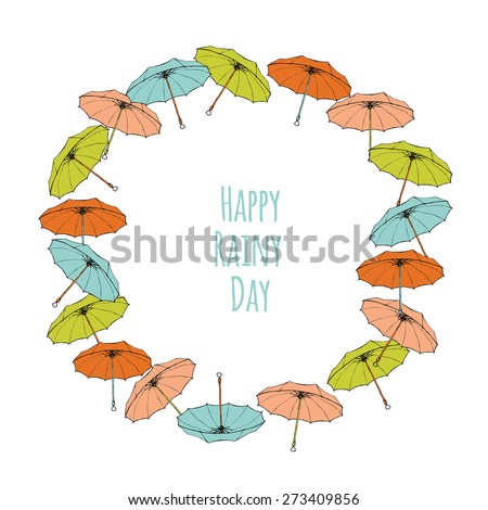 Colorful umbrellas, forming a frame with text block. Templates for design of cards, banners and flyers.  white background - stock vector