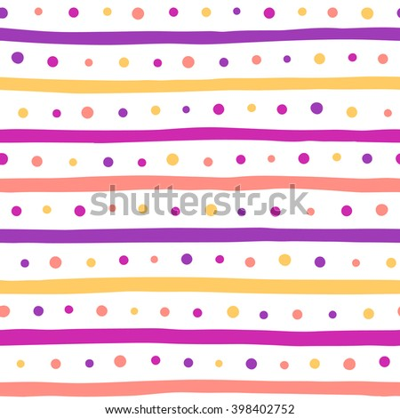 Colorful uneven bars and dots vector seamless pattern. Free hand drawn stripes and round spots texture. Multicolored abstract geometrical background. Striped pattern. - stock vector