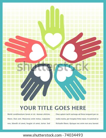 Colorful united loving hands design with text space. - stock vector