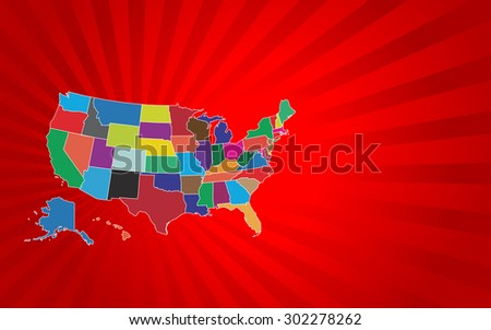 Colorful United States Map - Vector Illustration - stock vector