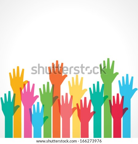 colorful up hand background - vector illustration - stock vector