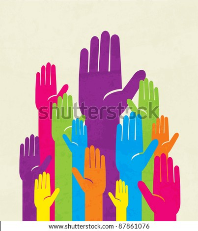 colorful up hand. concept of democracy - stock vector