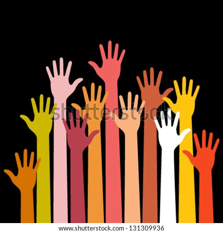 colorful up hands on black background, vector illustration - stock vector