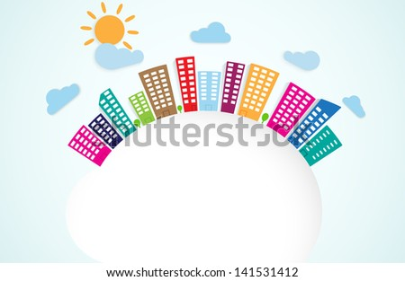 colorful urban scene on circle - stock vector