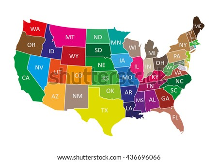 Colorful USA map with states