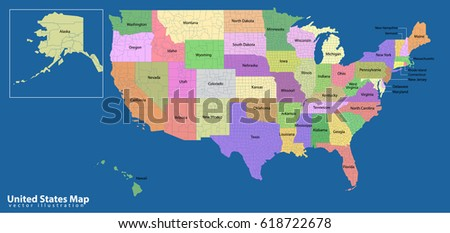 Colorful USA Map States Capital Cities Stock Vector 618722678 ...