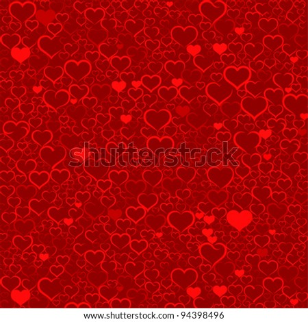 Colorful Valentine's day background with hearts, vector - stock vector