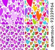 Colorful Valentine's Day sketchy hearts seamless pattern set - stock vector