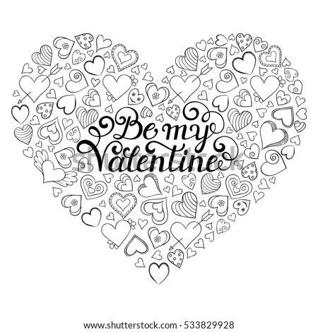 Colorful valentines card with hearts and be my valentine inscription on center coloring page for
