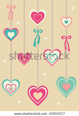 Colorful valentines day card with ornamental hearts