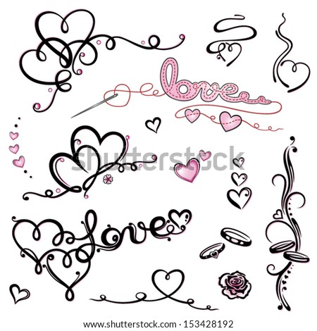 Colorful valentines day vector set - stock vector