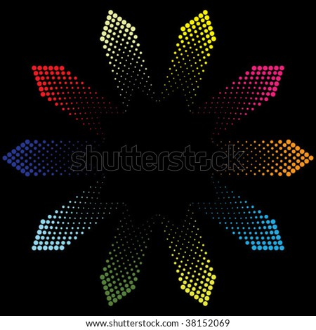 colorful vector arrows made of dots pointing in different direction