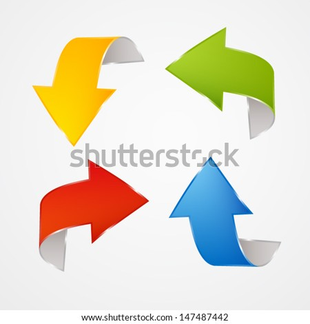 Colorful vector arrows on grey background - stock vector