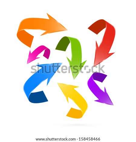 Colorful Vector Arrows Set Isolated on White Background - stock vector