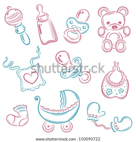 Colorful vector baby set, pink and blue - stock vector