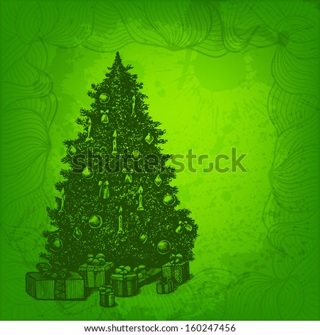 Colorful vector background. Christmas tree and presents - stock vector