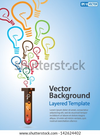 Colorful Vector Background - Idea Bulb Strands coming out of a Test Tube. Creative Concept for showing Ideas, Innovation, Invention, new product and many other ideas. - stock vector