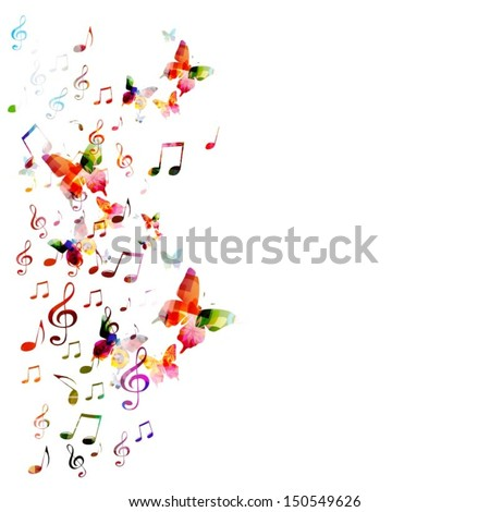 Colorful vector background with butterflies. - stock vector