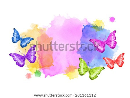 Colorful vector background with butterflies. Painting. Watercolors. Set.