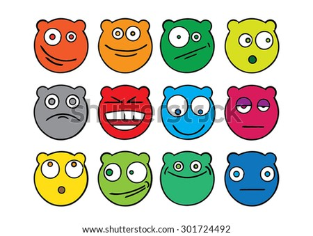 Colorful vector bears emoticons.
