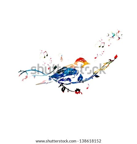 Colorful vector bird background with hummingbirds - stock vector