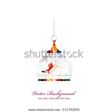 Colorful vector bird in cage - stock vector