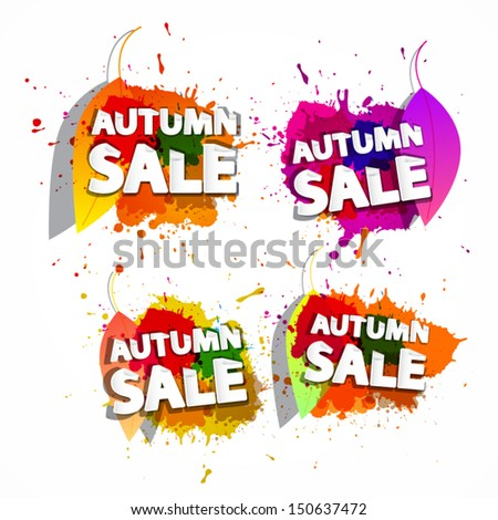 Colorful Vector Business Icons With Autumn Sale Title - stock vector
