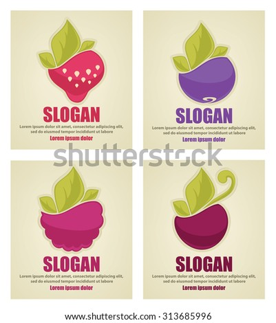 Colorful vector collection of fresh stylized berries, logo stickers and emblems  - stock vector