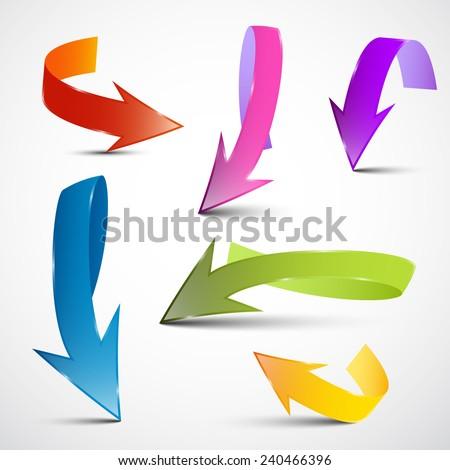 Colorful Vector 3D Arrows Set - stock vector