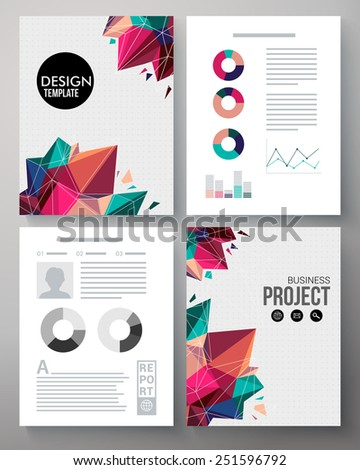 Colorful vector design template for a business project with geometric multicolored crystals or points, editable text copyspace, graphs and charts for statistics and analysis. Vector illustration. - stock vector