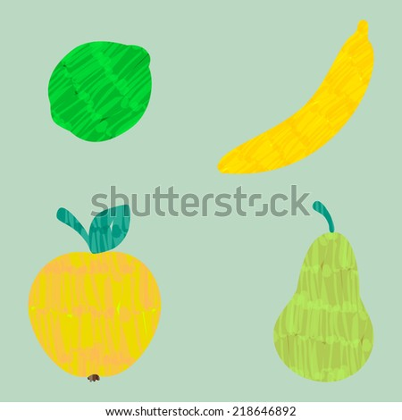 Colorful vector felt tip marker pen drawn apple, banana, pear and lime fruit set, easy edit color - stock vector