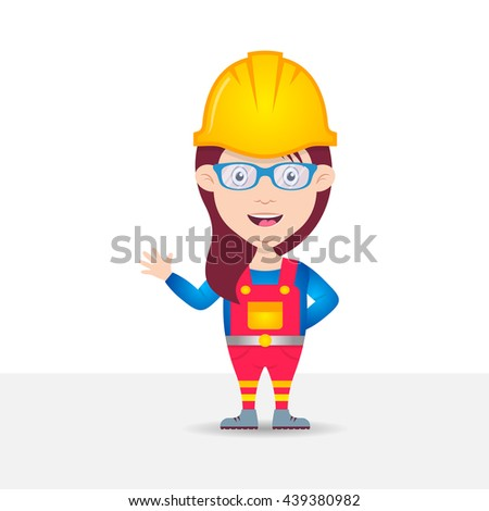 Colorful vector female construction worker cartoon character - stock vector