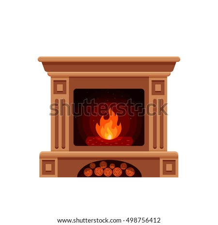Colorful vector fireplace icon isolated in cartoon flat style. Comfortable cozy warm fireplace flame bright winter Christmas decoration interior illustration.