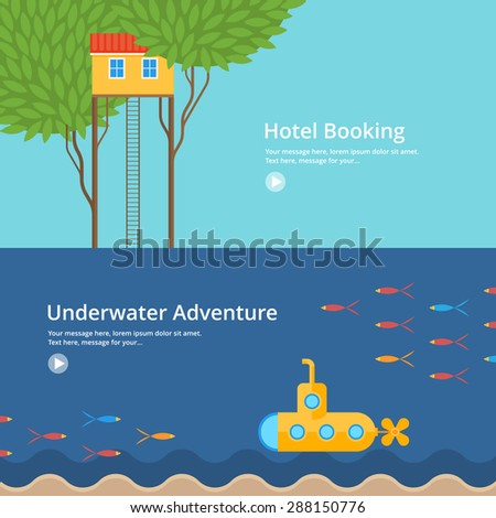 Colorful vector flat banner set. Quality design illustrations, elements and concept - Hotel booking, Underwater adventure - stock vector