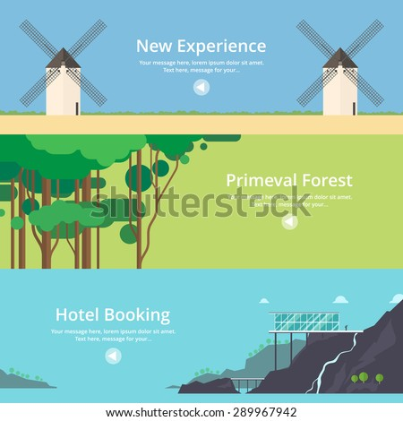 Colorful vector flat banner set. Quality design illustrations, elements and concept - Hotel booking, House at the lake, Mountain hotel, Time travel, Virgin forest, Jungle, New experiences - stock vector