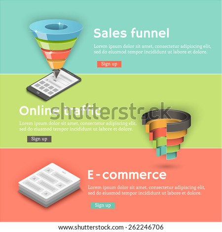 Colorful vector flat banners set. Sales funnel, a communicator, a laptop - stock vector