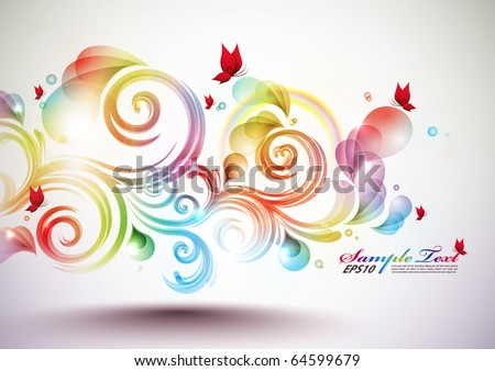 Colorful Vector Floral Element - stock vector