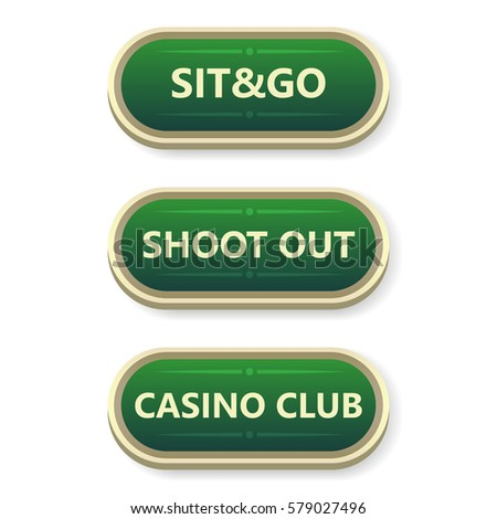 Colorful vector gambling and poker buttons with text.