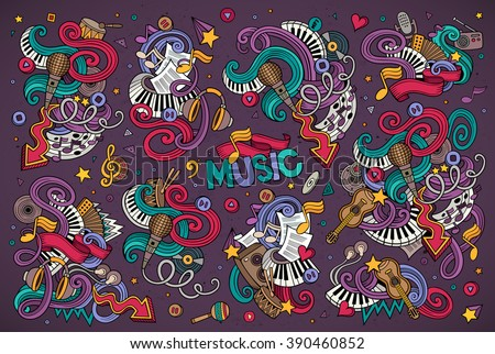 Colorful vector hand drawn Doodle cartoon set of objects and symbols on the music theme - stock vector
