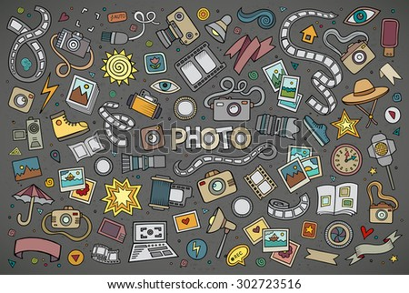 Colorful vector hand drawn Doodle cartoon set of objects and symbols on the photo theme - stock vector