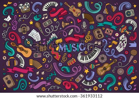 Colorful vector hand drawn doodles cartoon set of Music objects and symbols  - stock vector