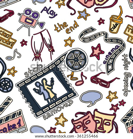 Colorful vector hand drawn pattern of objects and symbols on the cinema theme - stock vector