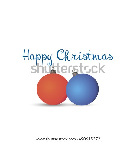 Colorful vector happy christmas balls. Illustration isolated on white background.