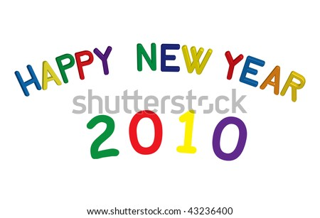 Colorful vector happy new year sign in 3D