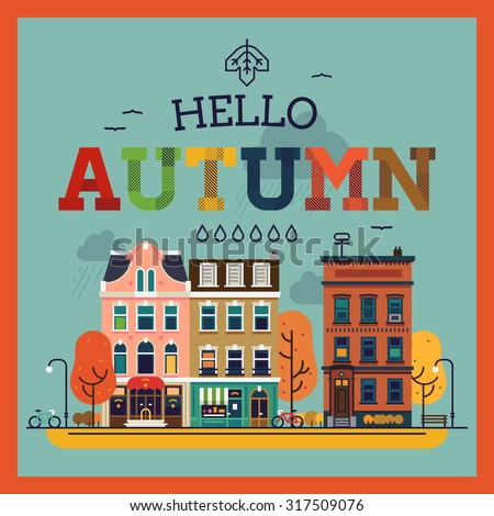 Colorful vector Hello Autumn seasonal background with autumn city landscape | Autumn greeting card, banner or poster template - stock vector