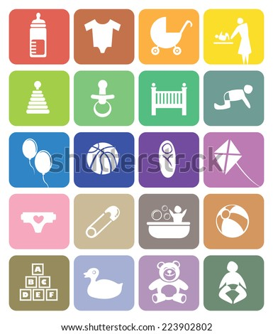 Colorful vector icons on baby and parenting theme. Isolated on white background - stock vector