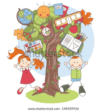Colorful vector Illustration of a tree with school supplies and playful kids. - stock vector