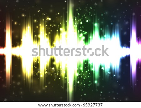 Colorful vector illustration of digital equalizer with bright blurry lights for your design. - stock vector