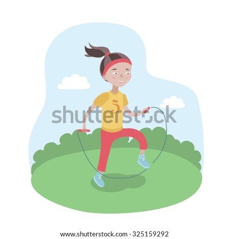 Colorful vector illustration of happy cute girl is jumping rope on playground.
