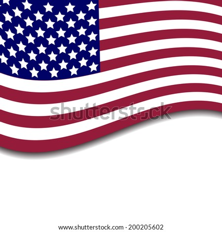 Colorful vector illustration of independence day USA with national flag and spase for text, holiday card by July 4